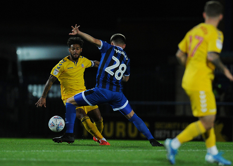 Bolton Wanderers' Liam Bridcutt under pressure from Rochdale's Aaron Morley<br /> <br /> Photographer Kevin Barnes/CameraSport<br /> <br /> EFL Leasing.com Trophy - Northern Section - Group F - Rochdale v Bolton Wanderers - Tuesday 1st October 2019  - University of Bolton Stadium - Bolton<br />  <br /> World Copyright © 2018 CameraSport. All rights reserved. 43 Linden Ave. Countesthorpe. Leicester. England. LE8 5PG - Tel: +44 (0) 116 277 4147 - admin@camerasport.com - www.camerasport.com