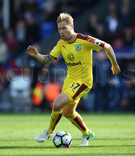 April 29th 2017, Selhurst Park, London England; EPL Premier league football, Crystal Palace versus Burnley; Scott Arfield, Midfielder for Burnley brings the ball forward