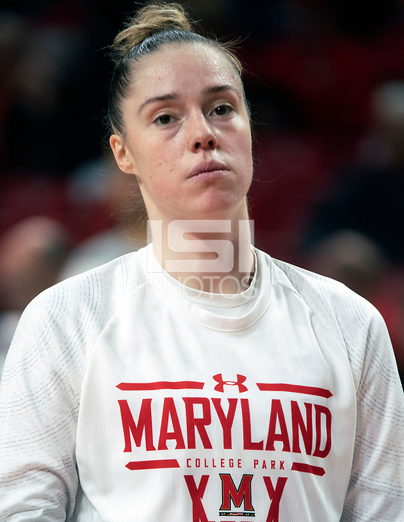COLLEGE PARK, MD - FEBRUARY 9: Sara Vujacic #32 of Maryland warms up during a game between Rutgers and Maryland at Xfinity Center on February 9, 2020 in College Park, Maryland.