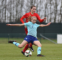 20190206 - TUBIZE , BELGIUM : Belgian Sterre Gielen (red) and Dutch Ella Peddemors (7) pictured during the friendly female soccer match between Women under 17 teams of  Belgium and The Netherlands , in Tubize , Belgium . Wednesday 6th February 2019 . PHOTO SPORTPIX.BE DIRK VUYLSTEKE