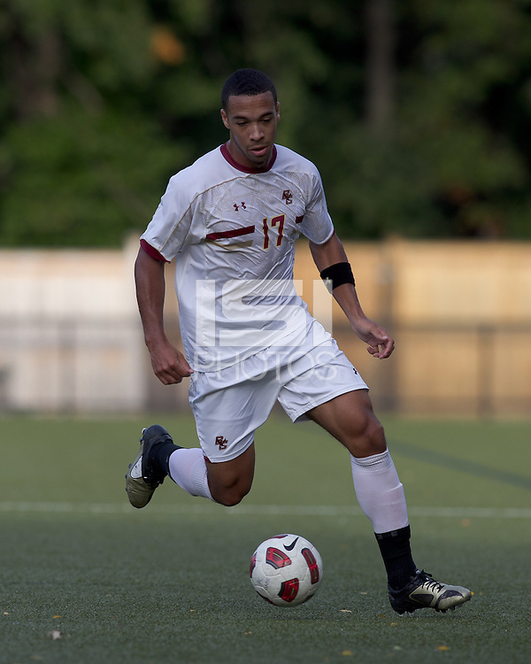 Boston College forward Charlie Rugg (17) dribbles. Boston College defeated Harvard University, 2-0, at Newton Campus Field, October 11, 2011.