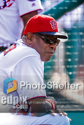 30 April 2017: Washington Nationals Manager Dusty Baker watches play from the dugout during the 9th inning against the New York Mets at Nationals Park in Washington, DC. The Nationals defeated the Mets 23-5, with the Nationals setting several individual and team records, in the third game of their weekend series. Mandatory Credit: Ed Wolfstein Photo *** RAW (NEF) Image File Available ***