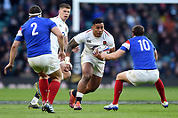 Manu Tuilagi of England takes on the France defence. Guinness Six Nations match between England and France on February 10, 2019 at Twickenham Stadium in London, England. Photo by: Patrick Khachfe / Onside Images