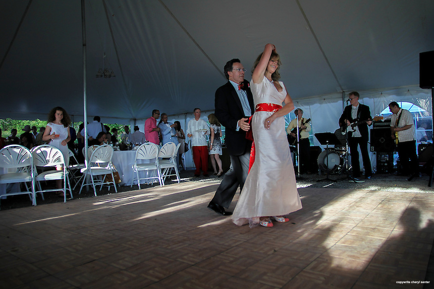 Novelist and writer Joyce Maynard and Jim Barringer's first dance as husband and wife wedding reception in Harrisville, N.H., Saturday, July 6, 2013.  (Cheryl at the Senter for the New York Times)