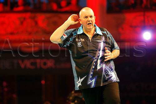 23.07.2016. Empress Ballroom, Blackpool, England. BetVictor World Matchplay Darts. Phil Taylor celebrates his 17-8 win