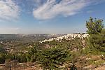 Jerusalem, Israel, Jerusalem forest and Har Nof neighborhood as seen from Mount Herzl<br />