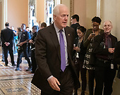 United States Senator John Cornyn (Republican of Texas) walks to the US Senate Chamber to cast two votes on legislation to reopen the government in the US Capitol in Washington, DC on Thursday, January 24, 2019.  Both proposals were voted upon and both failed to get enough votes to pass.<br /> Credit: Ron Sachs / CNP