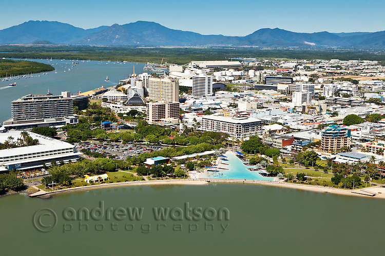 Aerial view of Esplanade lagoon and central business district with Trinity Inlet in background.  Cairns, Queensland, Australia