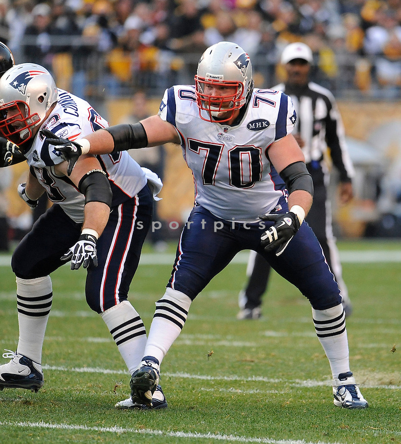 LOGAN MANKINS, of the New England Patriots, in action during the Patriots game against the Pittsburgh Steelers on October 30, 2011 at Heinz Field in Pittsburgh, PA. The Steelers beat the Patriots 25-17.