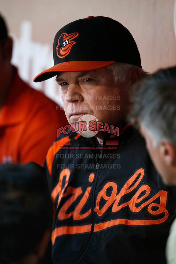 Baltimore Orioles Manager Buck Showalter #26 before a game against the Los Angeles Angels at Angel Stadium on May 2, 2013 in Anaheim, California. Baltimore defeated Los Angeles 5-1. (Larry Goren/Four Seam Images)