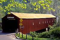 covered bridge, Housatonic Valley, Lichtfield Hills, Connecticut, West Cornwall Covered Bridge in West Cornwall, Connecticut in the spring.