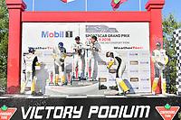 #67 Chip Ganassi Racing Ford GT, GTLM: Ryan Briscoe, Richard Westbrook celebrates the win on the podium with <br /> #3 Corvette Racing Chevrolet Corvette C7.R, GTLM: Antonio Garcia, Jan Magnussen, #4 Corvette Racing Chevrolet Corvette C7.R, GTLM: Oliver Gavin, Tommy Milner,