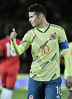 BOGOTA - COLOMBIA, 03-06-2019: James Rodriguez de Colombia en acción durante partido amistoso entre Colombia y Panamá jugado en el estadio El Campín en Bogotá, Colombia. / James Rodriguez of Colombia in action during a friendly match between Colombia and Panama played at Estadio El Campin in Bogota, Colombia. Photo: VizzorImage/ Gabriel Aponte / Staff