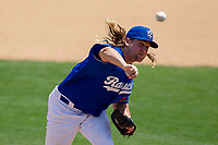 Rancho Cucamonga Quakes Stetson Allie (23) follows through on his delivery against the Visalia Rawhide at LoanMart Field on May 14, 2018 in Rancho Cucamonga, California. The Rawhide defeated the Quakes 5-0.  (Donn Parris/Four Seam Images)