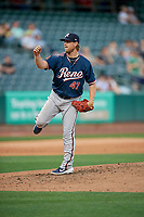 Reno Aces starting pitcher Bradin Hagens (47) throws to the plate during the game against the Salt Lake Bees at Smith's Ballpark on June 27, 2019 in Salt Lake City, Utah. The Aces defeated the Bees 10-6. (Stephen Smith/Four Seam Images)