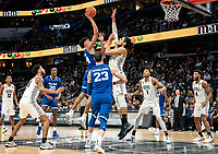 WASHINGTON, DC - FEBRUARY 05: Omer Yurtseven #44 of Georgetown defends on a shot by Jared Rhoden #14 of Seton Hall during a game between Seton Hall and Georgetown at Capital One Arena on February 05, 2020 in Washington, DC.