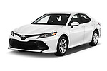 2018 Toyota Camry LE Auto 4 Door Sedan angular front stock photos of front three quarter view