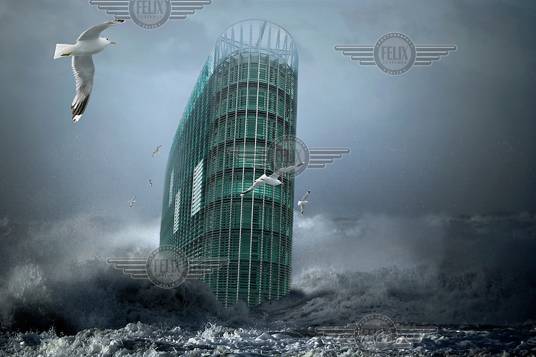 A composite, manipulated image showing the impact of climate change in an imagined future. Here, the WMO (World Meteorological Organization) in Geneva looks like it's sailing like a ship. The analogy here is with Noah's Arc during the Great Flood.
