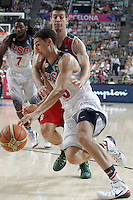 USA's Klay Thompson (f) and Mexico's Roman Martinez during 2014 FIBA Basketball World Cup Round of 16 match.September 6,2014.(ALTERPHOTOS/Acero)