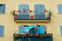 Spain, Alicante, a beach town and historic Mediterranean port. Colored windows.