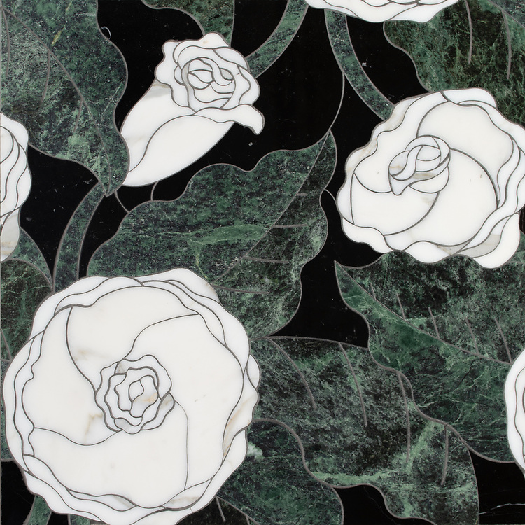 Chloe, a stone waterjet mosaic, shown in polished Nero Marquina, Spring Green, and Calacatta Gold, is part of the Bright Young Things™ collection by New Ravenna.