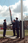 Pix: Shaun Flannery/shaunflanneryphotography.com...COPYRIGHT PICTURE>>SHAUN FLANNERY>01302-570814>>07778315553>>...Closure of RAF Finningley..The Ensign is lowered for the final time at RAF Finningley, Doncaster in 1996...