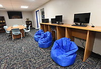 NWA Democrat-Gazette/FLIP PUTTHOFF <br /> A tech area at the Rogers Teen Center   July 3 2019  gives teenagers a place to use computers and do their homework.