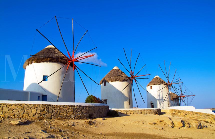 Windmills on beach, Mykonos, Greece