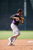 Colorado Rockies Carlos Herrera (12) during an Instructional League game against the San Francisco Giants on October 8, 2016 at the Giants Baseball Complex in Scottsdale, Arizona.  (Mike Janes/Four Seam Images)