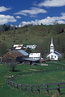 town, village, church, Vermont, VT, A fence leads down the field toward the scenic village of East Corinth in the spring.