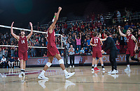 STANFORD, CA - March 2, 2019: Kyler Presho, Jaylen Jasper, Eli Wopat, Kyle Dagostino, Leo Henken at Maples Pavilion. The Stanford Cardinal defeated BYU 25-20, 25-20, 22-25, 25-21.