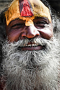 An Hindu sadhu seen outside the Pashupathi Nath Temple in capital Kathmandu, Nepal