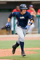 Dante Bichette Jr. #49 of Team Blue hustles down the first base line against Team Red during the USA 18U National Team Trials at the USA Baseball National Training Center on July 1, 2010, in Cary, North Carolina.  Photo by Brian Westerholt / Four Seam Images