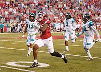 Hawgs Illustrated/BEN GOFF <br /> T.J. Hammonds, Arkansas running back, runs 88 yards for a touchdown in the fourth quarter against Coastal Carolina Saturday, Nov. 4, 2017, at Reynolds Razorback Stadium in Fayetteville.