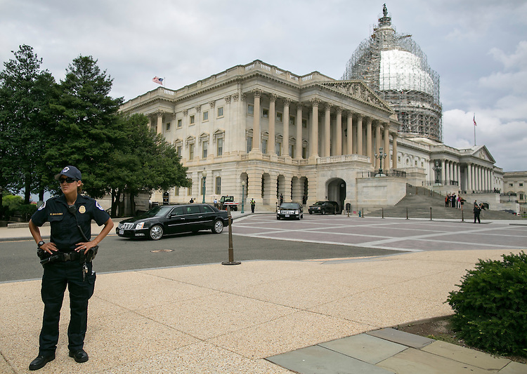 UNITED STATES - JUNE 15 - Vice President Joe Biden leaves the U.S. Capitol in his motorcade after meeting with lawmakers in an effort to sell President Obama's nuclear deal with Iran on Capitol Hill, Wednesday, July 15, 2015. (Photo By Al Drago/CQ Roll Call)