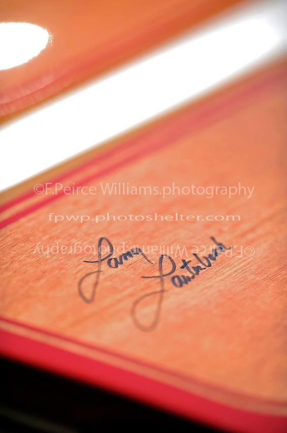 "Detail: builder Larry Lauterbach's signature, Ed Shield's TS-3 ""Catch Me If You Can"" (2009 Lauterbach 2-seat Grand Prix hydroplane)"