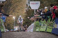 World Champion Wout Van Aert (BEL/Crelan-Vastgoedservice) cheered on on his way up the Koppenberg for the very last time today (winning the race by a significant margin)<br /> <br /> 25th Koppenbergcross 2016