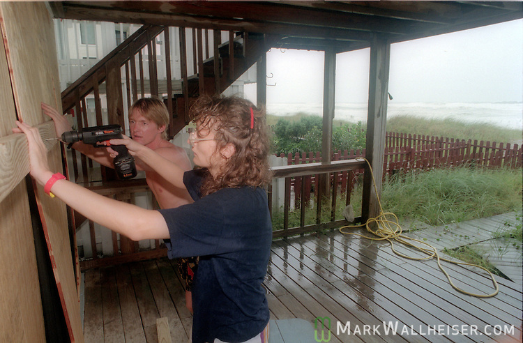 Residents board up as Hurricane Opal approaches the Florida panhandle as a category three storm when it came ashore near Pensacola, Florida October 4, 1995.  It was the strongest hurricane of the 1995 season and killed 63 people, 13 in the United States.  Hurricane Opal's name was retired the following year.