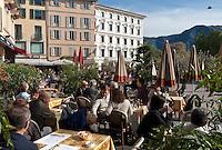 Switzerland, Ticino, Lugano: Cafe at Piazza delle Riforma | Schweiz, Tessin, Lugano: Cafe auf der Piazza della Riforma