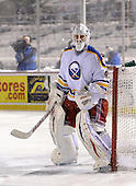 Martin Biron (43) in goal during The Frozen Frontier Buffalo Sabres vs. Rochester Amerks Alumni Game at Frontier Field on December 15, 2013 in Rochester, New York.  (Copyright Mike Janes Photography)