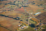 California's Shenandoah Valley during autumn from the air...Noceto Vineyards and Andis Winery