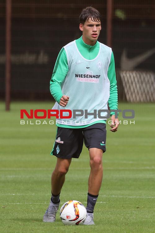 27.07.2015, Trainingsgelaende, Bremen, GER, 1.FBL, Training Werder Bremen , <br /> <br /> im Bild<br /> Luca-Milan Zander (Bremen #19)<br /> <br /> Foto &copy; nordphoto / Ewert