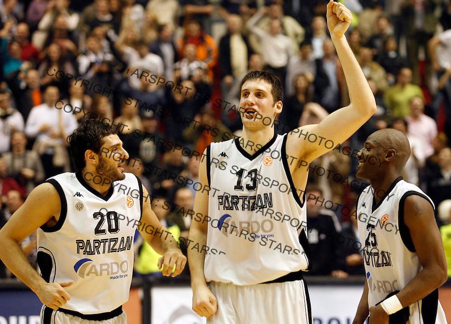 Kosarka, Euroleague TOP 16, season 2006/07<br /> Partizan (Belgrade) Vs. Joventut (Badalona)<br /> Petar Bozic, left, Kosta Perovic, center, and Vonteego Cummings, right, celebrate victory<br /> Beograd, 01.03.2007.<br /> FOTO: Srdjan Stevanovic