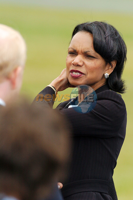Newmarket-on-Fergus Ireland, US National Security Advisor Condoleezza Rice waves speaks with American Ambassador to Ireland James Kenny at the press conference to be Held with US President George W. Bush and Irish Prime Minister and EU President Bertie Ahern and European Commission President Romano Prodi after the EU US summit at Dromoland Castle 26/06/04.Photo AFP/NEWSFILE/FRAN CAFFREY..(Photo credit should read FRAN CAFFREY/NEWSFILE/AFP)...This Picture has been sent you under the condtions enclosed by:.Newsfile Ltd..the Studio,.Millmount Abbey,.Drogheda,.Co Meath..Ireland..Tel: +353(0)41-9871240.Fax: +353(0)41-9871260.GSM: +353(0)86-2500958.email: pictures@newsfile.ie.www.newsfile.ie.FTP: 193.120.102.198..This picture is from Fran Caffrey@newsfile.ie
