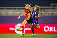 Orlando, Florida - Sunday, May 14, 2016: Western New York Flash defender Abigail Dahlkemper (13) retrieves the ball and turns away from Orlando Pride forward Alex Morgan (13) during a National Women's Soccer League match between Orlando Pride and New York Flash at Camping World Stadium.