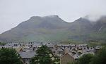 Slate house roof tops cloudy day, Blaenau Ffestiniog, Gwynedd, north Wales, UK