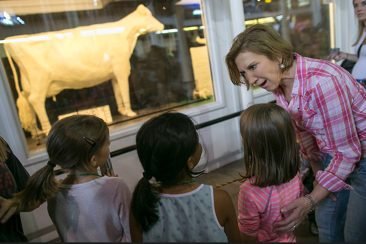 UNITED STATES - August 17: Republican presidential candidate Carly Fiorina makes a face as she checks out the infamous Butter Cow with fairgoers at the Iowa State Fair in Des Moines, Iowa, Monday, August 17, 2015. (Photo By Al Drago/CQ Roll Call)