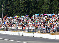 Aug. 2, 2014; Kent, WA, USA; NHRA fans in the grandstands during qualifying for the Northwest Nationals at Pacific Raceways. Mandatory Credit: Mark J. Rebilas-