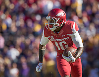 NWA Democrat-Gazette/BEN GOFF @NWABENGOFF<br /> La'Michael Pettway, Arkansas wide receiver, runs after a catch in the fourth quarter against LSU Saturday, Nov. 11, 2017 at Tiger Stadium in Baton Rouge, La.