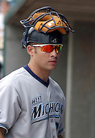 August 31, 2003:  Catcher Mike Rabelo of the West Michigan White Caps, Class-A affiliate of the Detroit Tigers, during a Midwest League game at Oldsmobile Park in Lansing, MI.  Photo by:  Mike Janes/Four Seam Images